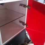 Meuble sous lavabo suspendu Zero Domino Alterna couleur de la face Galvoman carmon (rouge) dim. 38x38 profondeur, 40.3 charnière à droite (694.45 Chf)